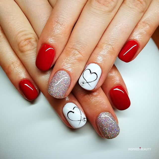 Valentine's nails, red and white