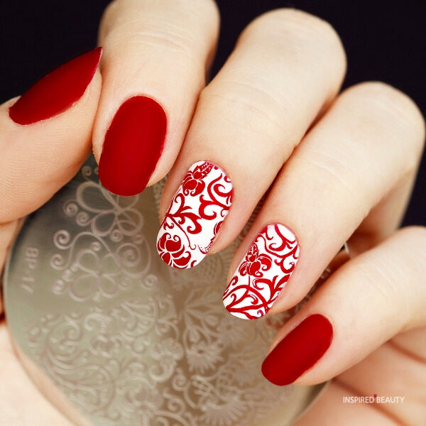 Cute Red And White Nail Art Design Inspired Beauty