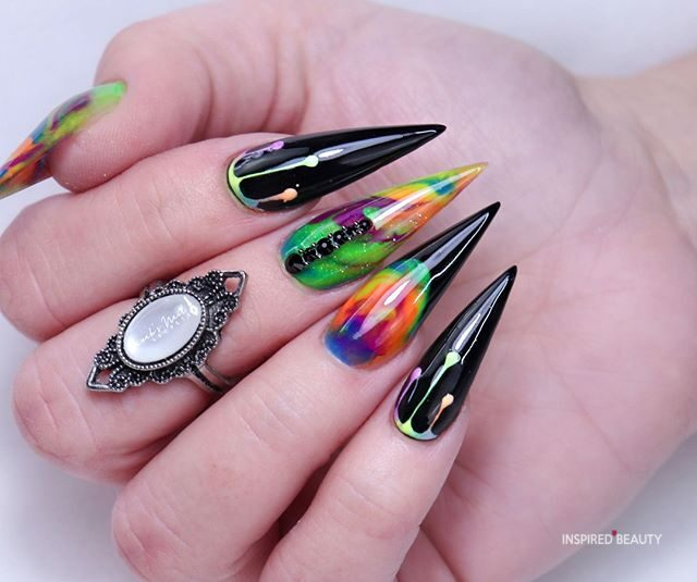 Multi color Nail With Black