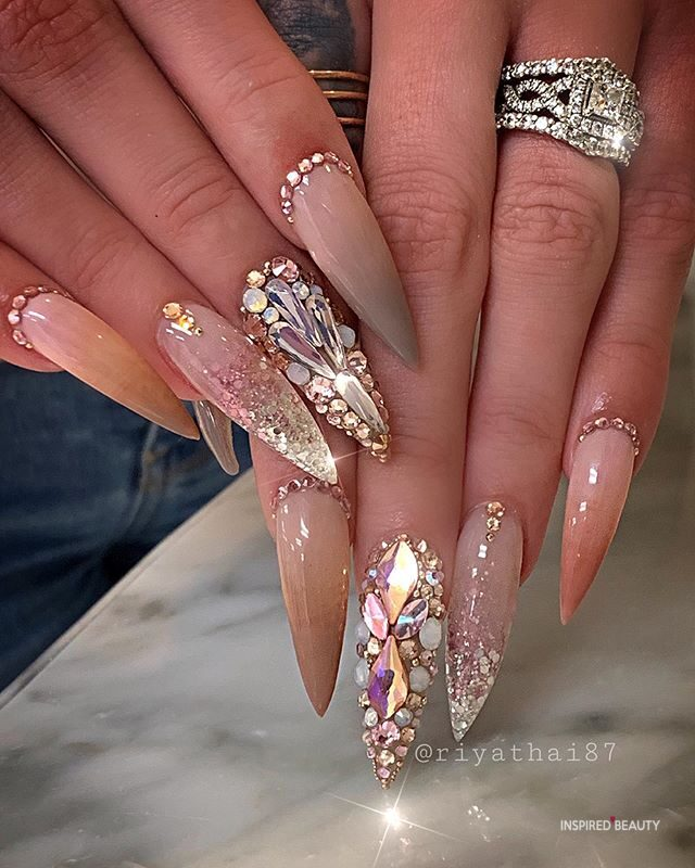 long stiletto nails with rhinestones