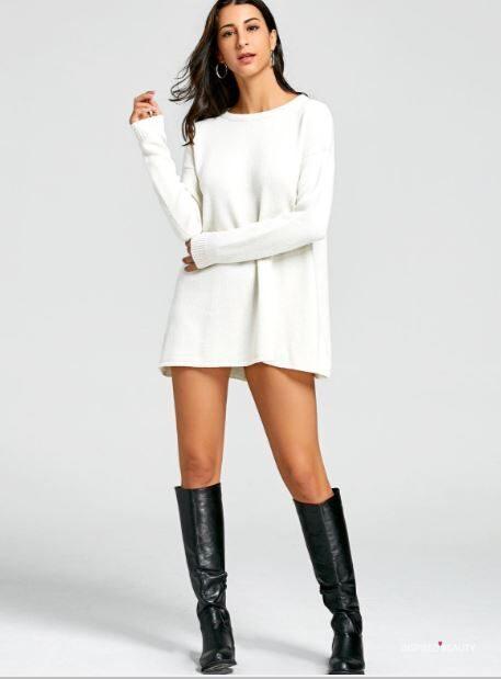 Crew Neck Mini Sweater Dress