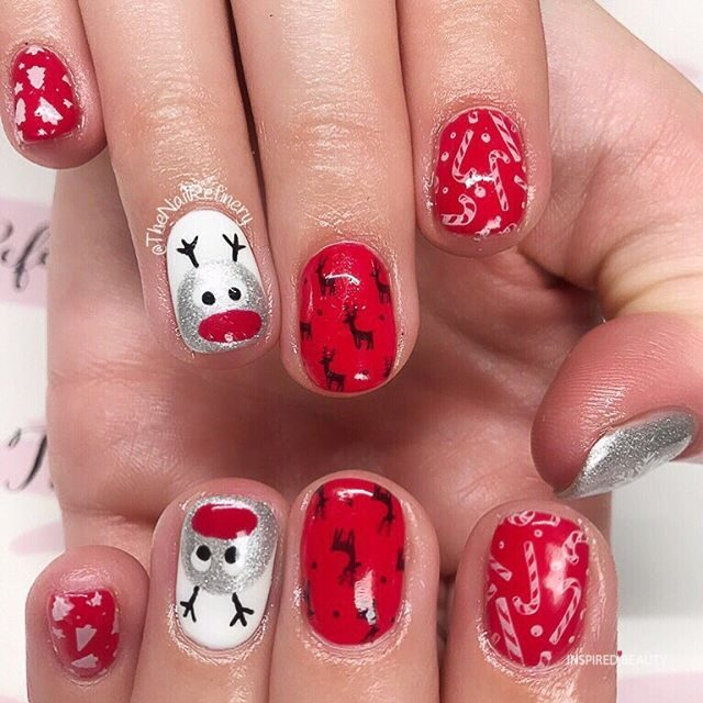 Silver Reindeer and Candy cane Christmas Nails