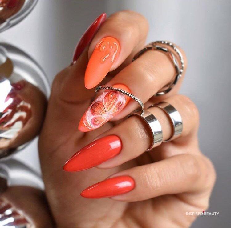 Orange almond nail