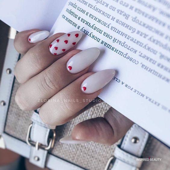 Valentine nail idea, almond nail