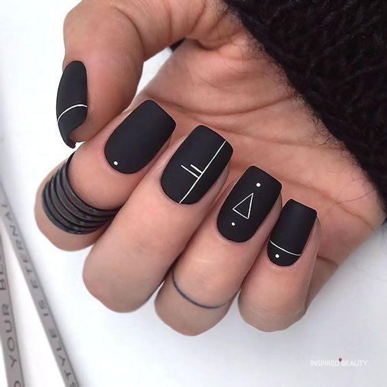 Black Squoval Nails