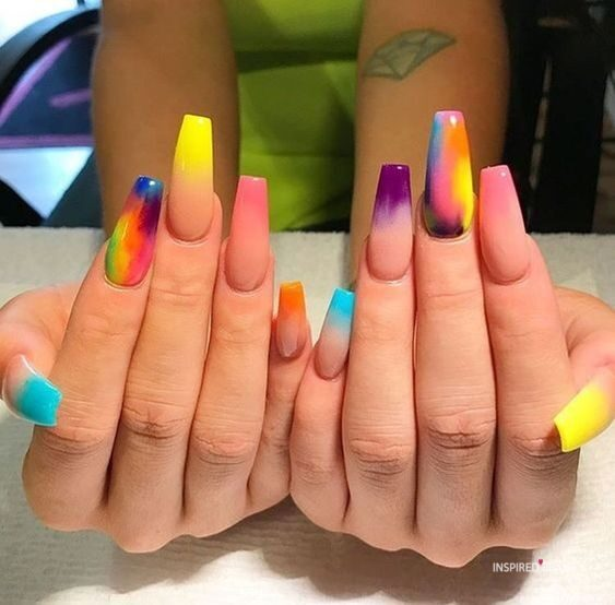 Inspired Beauty - Bright Multicolor nails That are Perfect