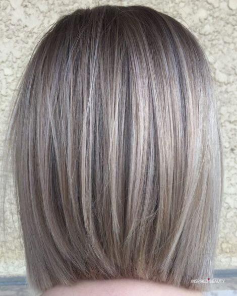 Straight Gray Blonde Lob