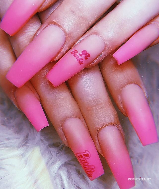 Pretty Barbie Pink ombre Nails