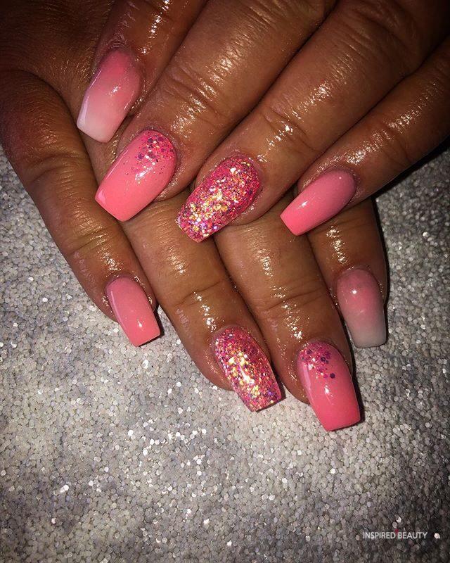 Pink Short Acrylic Nails