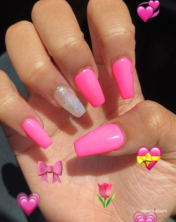 hot pink nails with glitter
