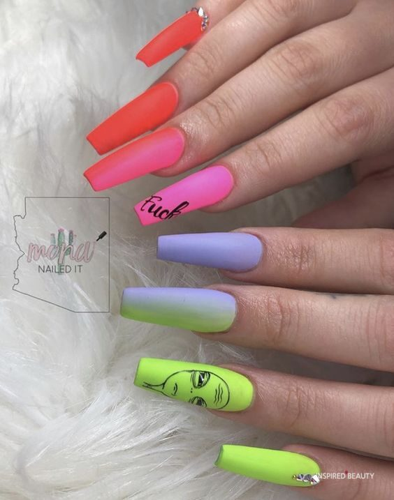 Colorful modern nail art