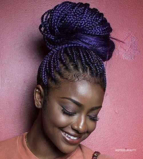black and purple box braids