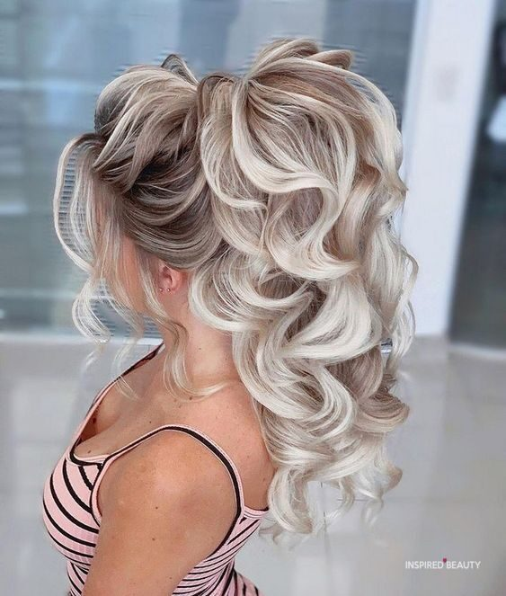 high ponytail with puff
