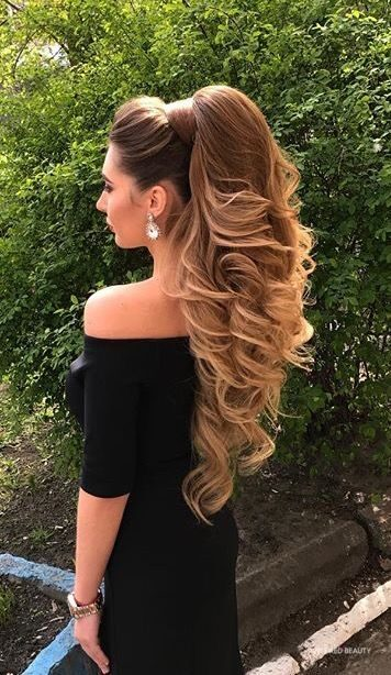 Long high ponytail hairstyle