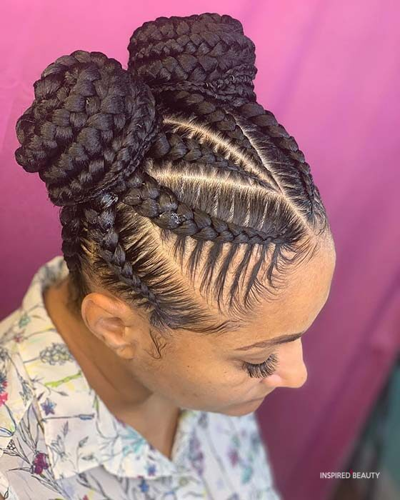 box braids bun hairstyles