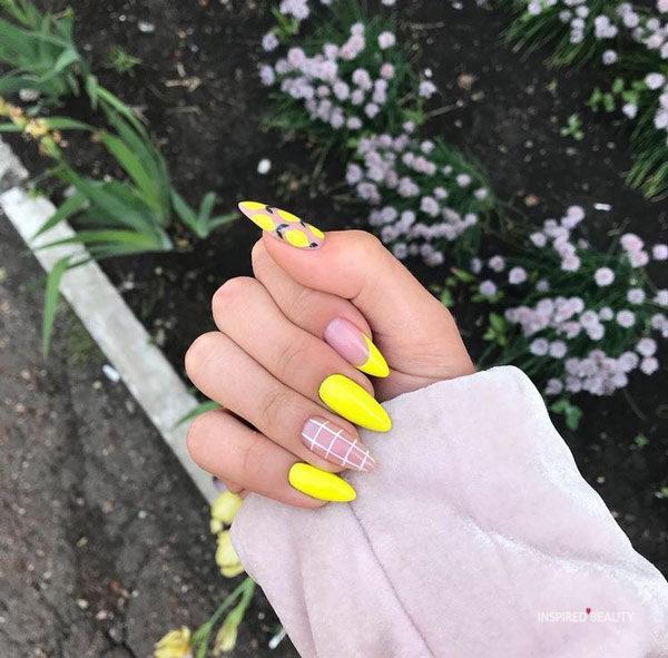 Bright yellow Modern Nails