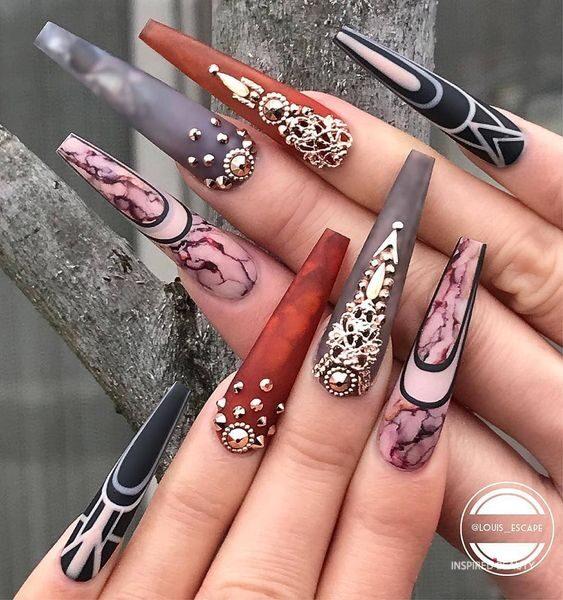 Stylish Long nail art
