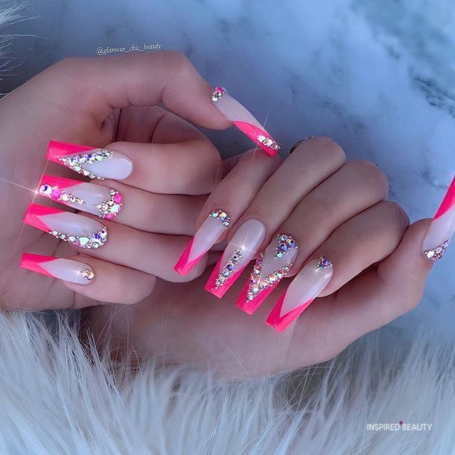 Long Coffin Nails With Rhinestones pink french tip