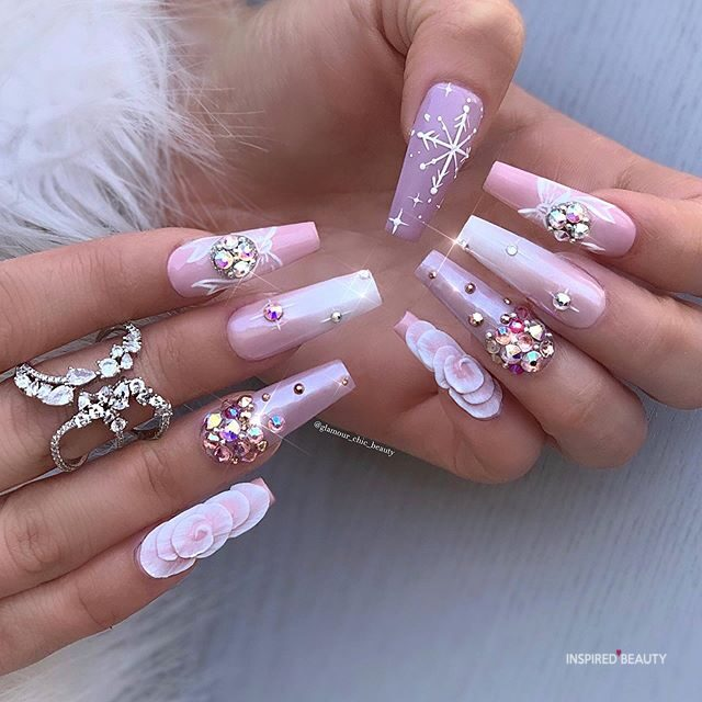 pink coffin nails with diamonds