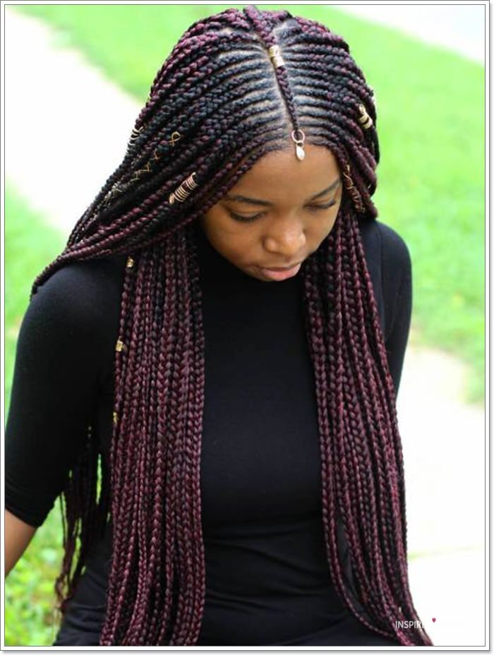 knotless braids with beads