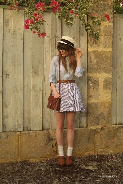 Bag, shoes, shirt and blouse - back in time vintage look outfit ideas