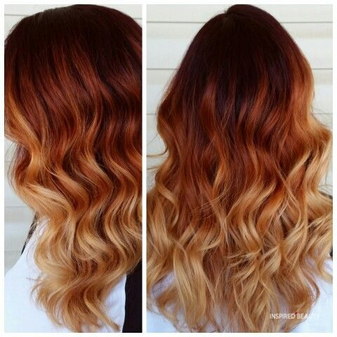 Copper Red Balayage on brown hair