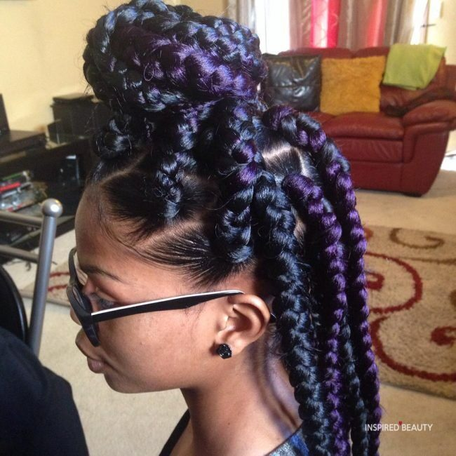 box braids with purple highlights