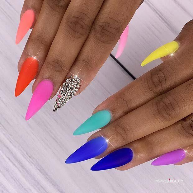 colorful matte nails