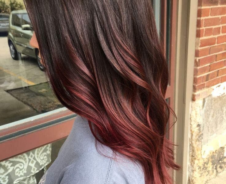 red balayage on brown hair