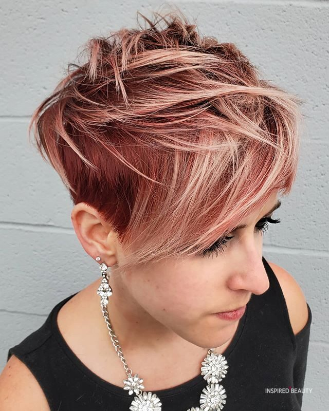 Red Balayage Very Short Hair