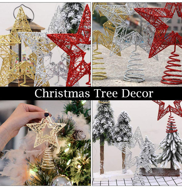 Wired Christmas tree star decor idea red, white and gold