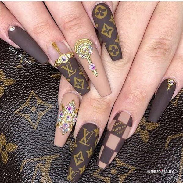 Baddie Louis Vuitton nails