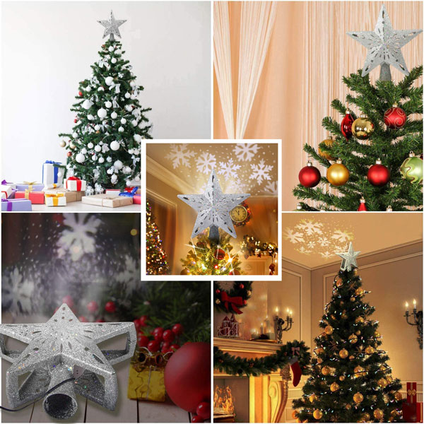 Christmas Tree Topper Lighted Star with Rotating Snowflake Projector 3D