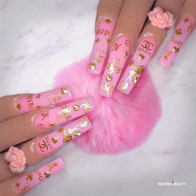 pink Louis Vuitton nails coffin