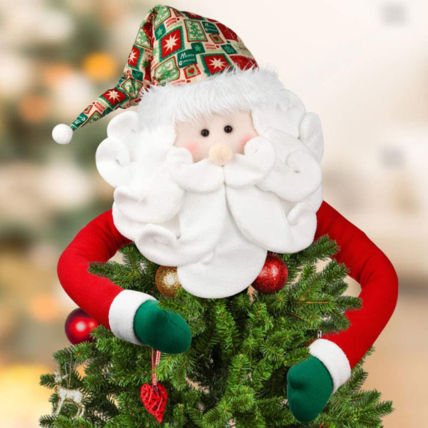 Santa Tree Topper, Large Christmas Tree Topper Santa Hugger