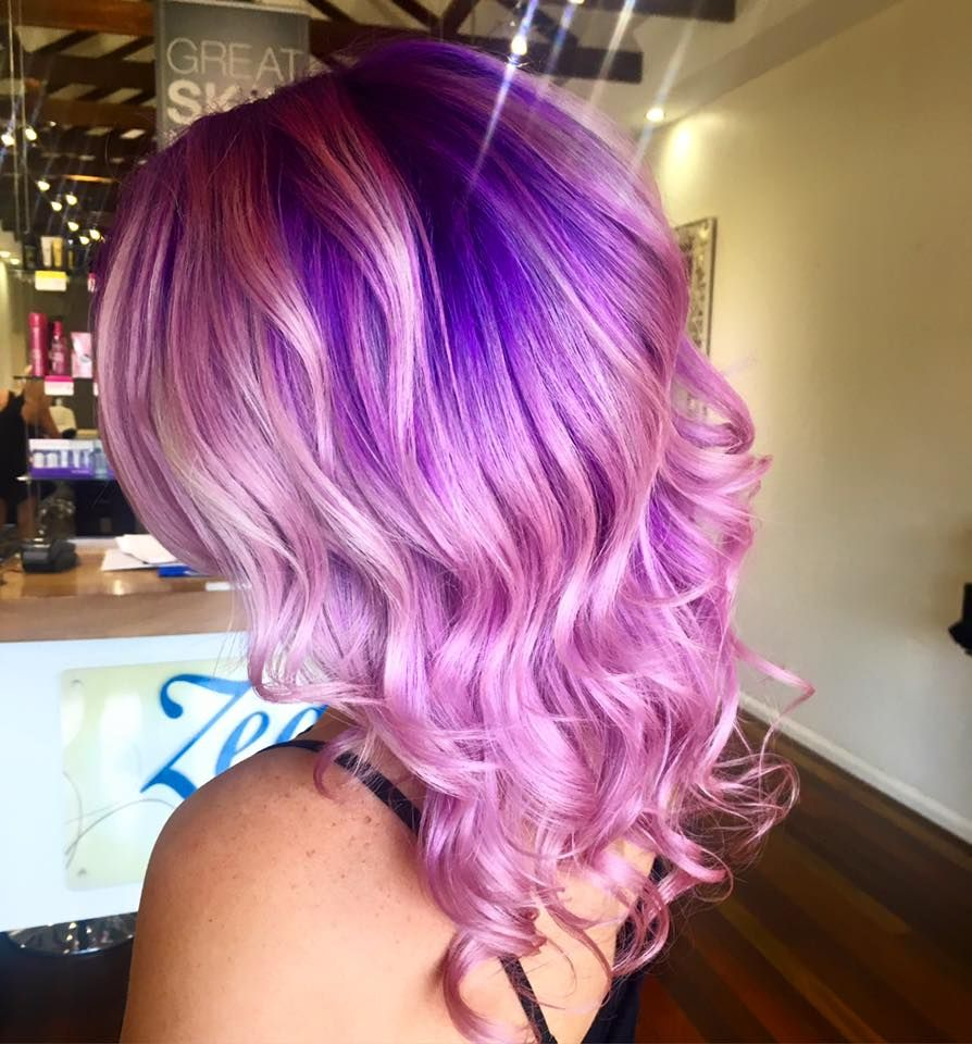 Beautiful hair color with pastel blue hair dye