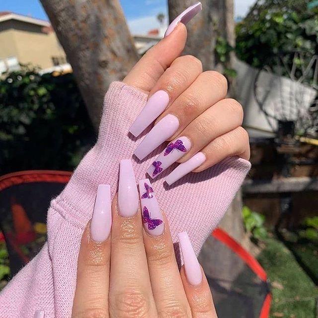 pink baddie nails